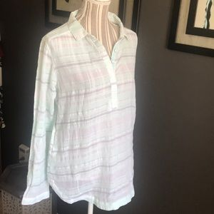 Worn once, Columbia sheer button down top
